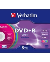 DVD+R 4.7GB Colour 5 PK - Verbatim