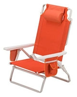 Beach Chair 5 Position Orange with bottle holder 076501065978 - Coleman
