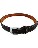 Black Genuine Leather Matte Belt 3.5cm with Havana Line 11-07-1304-01 - Oryx