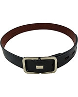 Black Genuine Leather Belt 3.5cm with Rectangle Buckle 18mm 11-07-5000-01 - Oryx