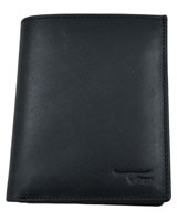Black Vertical Genuine Leather Wallet With Internal Pocket 12-23-7011-01 - Oryx