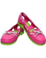 Women's Beach Line Boat Shoe Fuchsia/Volt Green 14261 - Crocs