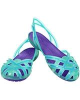 Girls' Huarache Slingback Flat Island Green/Ultraviolet 14410 - Crocs