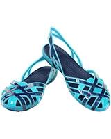 Girls' Huarache Slingback Flat Aqua/Navy 14410 - Crocs