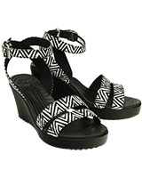 Women's Leigh Graphic Wedge Black/Black 15313 - Crocs