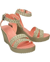 Women's Leigh Graphic Wedge Stucco/Tumbleweed 15313 - Crocs