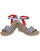 Women's Leigh Graphic Wedge Nautical Navy/White 15313 - Crocs