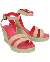 Women's Leigh Graphic Wedge Melon/Stucco 15313 - Crocs