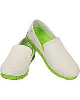 Women's Stretch Sole Loafer White/Volt Green 15318 - Crocs