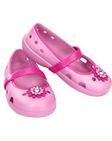Girls' Keeley Petal Charm Flat Carnation/Neon Magenta 15399 - Crocs