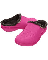 Unisex ColorLite Fuzz Lined Clog Candy Pink/Mahogany 16195 - Crocs