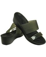 Women's Colorblock Mini Wedge Black/Black 200031 - Crocs