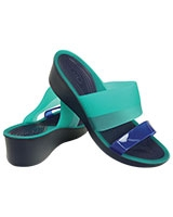 Women's Colorblock Mini Wedge Tropical Teal/Nautical Navy 200031 - Crocs
