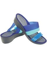 Women's Colorblock Mini Wedge Storm/Cerulean 200031 - Crocs