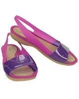 Women's ColorBlock Flat Vibrant Violet/Ultraviolet 200032 - Crocs