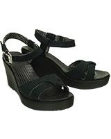 Women's Leigh Sandal Wedge Black/Black 200098 - Crocs
