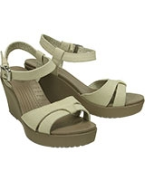 Women's Leigh Sandal Wedge Stucco/Mushroom 200098 - Crocs
