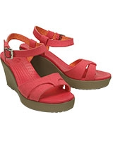 Women's Leigh Sandal Wedge Poppy/Mushroom 200098 - Crocs
