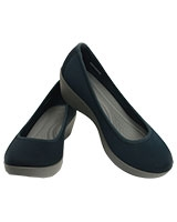 Women's Busy Day Stretch Ballet Wedge Navy/Smoke 202441 - Crocs