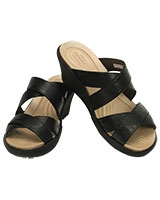 Women's A-leigh Crisscross Wedge Black/Black 202991 - Crocs