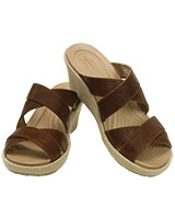 Women's A-leigh Crisscross Wedge Hazelnut/Chai 202991 - Crocs