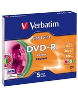 DVD-R 4.7GB Light Scribe Colour 5 PK - Verbatim
