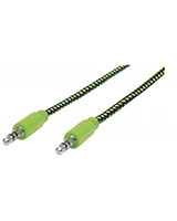 Braided Audio Cable Black/Green 1 m 394130 - Manhattan