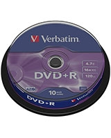 DVD+R Matt Silver 4.7GB 10 PK Spindle - Verbatim