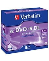 DVD+R Double Layer Matt Silver 8.5GB 5 PK - Verbatim