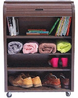 Small Rolling Cabinet Dark Brown Wood - Rolling-C
