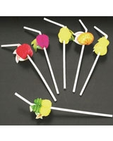 Tropical Fruits Set Of 6 Drinking Straws - Metaltex
