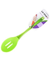 Green Silicon PS Handle Slotted Spoon Spectrum - La Vita
