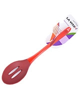 Red Silicon PS Handle Slotted Spoon Spectrum - La Vita