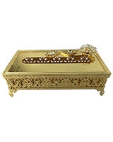 Gold Tissue Box With Black Stones AS1422-287