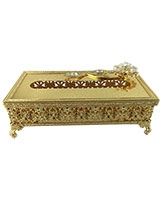 Gold Tissue Box With Blue Stones AS1422-287