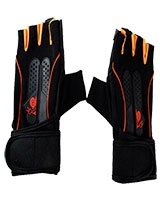 Gym Gloves Hard Back + Weight Lifting Straps FHB-15 - Energy