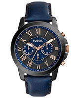 Ladies' Watch Grant Chronograph Navy Leather FS5061 - Fossil