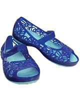 Kids' Isabella Jelly PS Cerulean Blue/Ice Blue Flat 203281 - Crocs