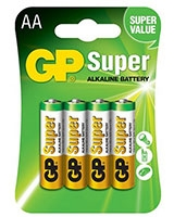 Super AlKaline Batteries AA Pack Of 4 GP15A - GP
