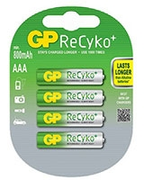 1.2V/800mAh Rechargable ReCyko+ AAA Batteries Pack Of 4 - GP