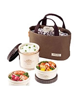 Brown ٍSmall Lunch Box 3 Pieces Set - Lock & Lock