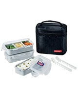 Black Lunch Box 3 Pieces Set - Lock & Lock