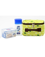 Lunch Box Green 3 Piece Set 300ml Water bottle + 470ml Container + Fork & Spoon + Bag HPL807BTS4AG - Lock & Lock