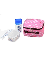 Lunch Box Pink 3 Piece Set 300ml Water bottle + 470ml Container + Fork & Spoon + Bag HPL807BTS4AP - Lock & Lock