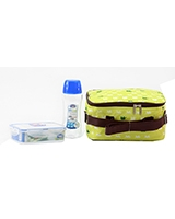 Lunch Box Green 3 Piece Set 500ml Water bottle + 550ml Container + Fork & Spoon + Bag HPL815BTS4AG - Lock & Lock