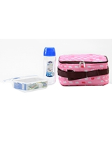 Lunch Box Pink 3 Piece Set 500ml Water bottle + 550ml Container + Fork & Spoon + Bag HPL815BTS4AP - Lock & Lock