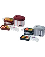 Lunch Box 3 Pieces Set With Stripe Bag - Lock & Lock