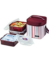 Dark Purple Lunch Box 3 Pieces Set With  Cool Ice Pack HPL856DP - Lock & Lock