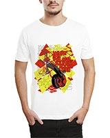 Printed T-Shirt White IB-T-M-MU-28 - Ibrand