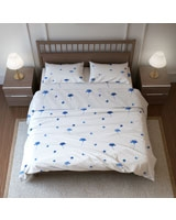Printed Fitted Bed Sheet Natura Yang Design Blue - Comfort